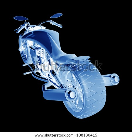 Xray concept motorcycle isolated on black background (No trademark this is my own design) High resolution 3D - stock photo