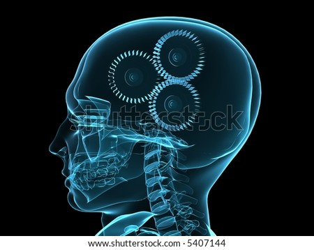 xray head with gears - stock photo