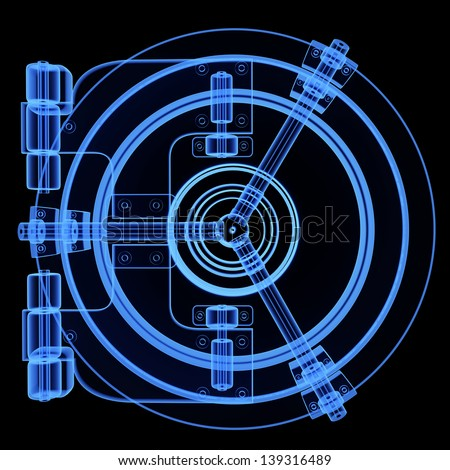 XRAY  illustration of bank vault door isolated on black background High resolution 3d
