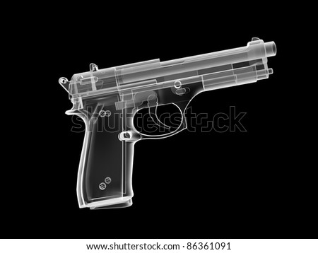 xray image of a pistol. 3d render.