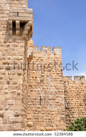 XVI century Jerusalem Old City walls - stock photo