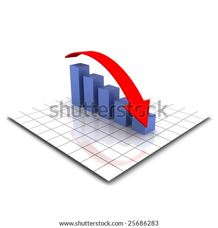 XXL 3D render of a bar graph with a falling red arrow