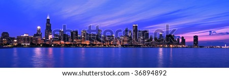 XXL - Famous Chicago Panorama. Night Time. - stock photo