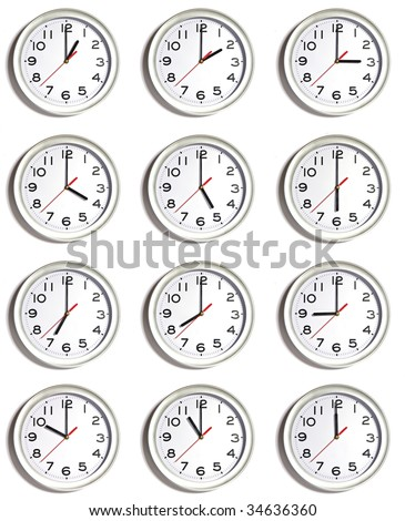XXL image of twelve clocks, isolated on white each showing a different time. - stock photo