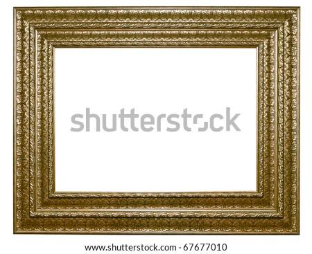 XXL-Isolated wooden Photo Frame - stock photo