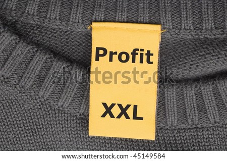 xxl profit with fashion label or tag showing financial success concept