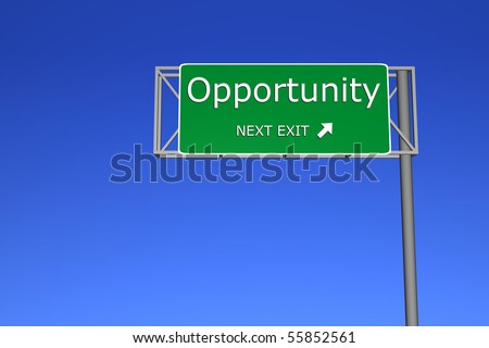 XXL resolution 3D render of  highway sign - Opportunity - stock photo