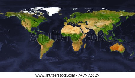 XXL size physical world map illustration. Primary source, elements of this image furnished by NASA. Super high resolution and best details.