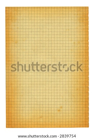 XXL size piece of old squared paper - stock photo
