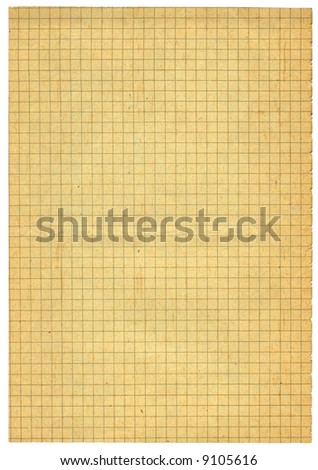 XXL size piece of old squared paper isolated on white