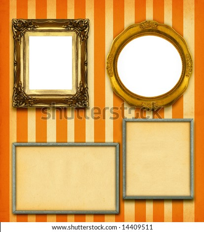 XXL size selection of picture frames on stripy wallpaper - stock photo