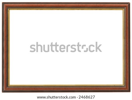 XXL size wooden frame isolated on white - stock photo