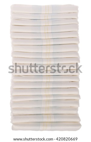 XXLarge Stack of diapers on white. Clipping path included.
