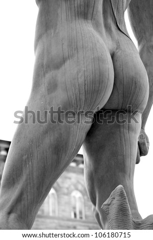 XXX Michelangelo's ass.  Michelangelo's David. Piazza della Signoria, Firenze, Italy. No penis. - stock photo