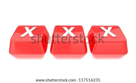 XXX written in white on red computer keys. 3d illustration. Isolated background. - stock photo