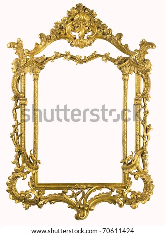 XXXL Antique gold frame isolated on the white with clipping path - stock photo