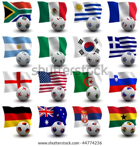 XXXL 3D render of Groups A to D participating in the World Cup 2010 tournament to be held in South Africa. Flag and ball depicted. Medium resolution - look out for more 2010 images. - stock photo