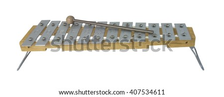 Xylophone instrument which is played by striking the different metal plates with a striker - path included