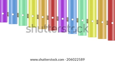Xylophone isolated on white, top view - stock photo
