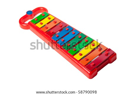 Xylophone metallophone for kids isolated on white - stock photo