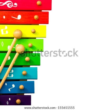 xylophone toy isolated on white - stock photo