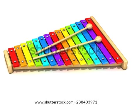 Xylophone with rainbow colored keys and with two wood drum sticks. 3D render isolated on white background. Wooden toy. Percussion instrument. Music art creation concept - stock photo