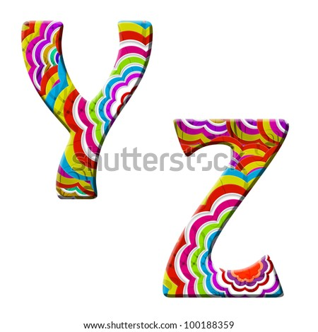 Y, Z, Colorful wave font isolated on white. - stock photo