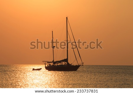 Yacht  against sunset.