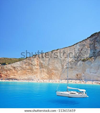 Yacht anchored  at Porto Katsiki beach on the island of Lefkada, Greece - stock photo