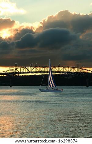 Yacht and bridge - stock photo