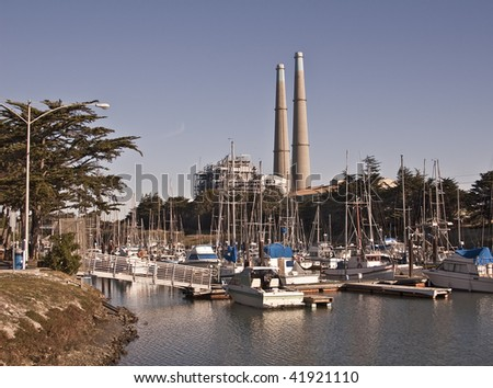 Yacht and Fishing Harbor at Moss Landing on the Monterey Bay - stock photo