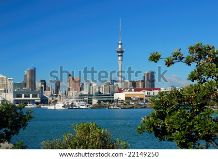 yacht at Auckland habor - stock photo