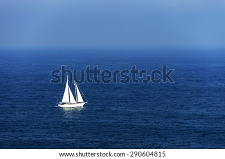 Yacht at open ocean - stock photo