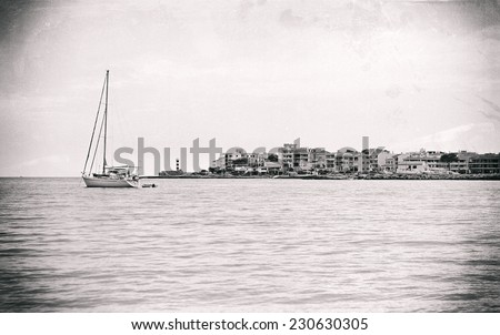 Yacht. Black and white retro photo. - stock photo