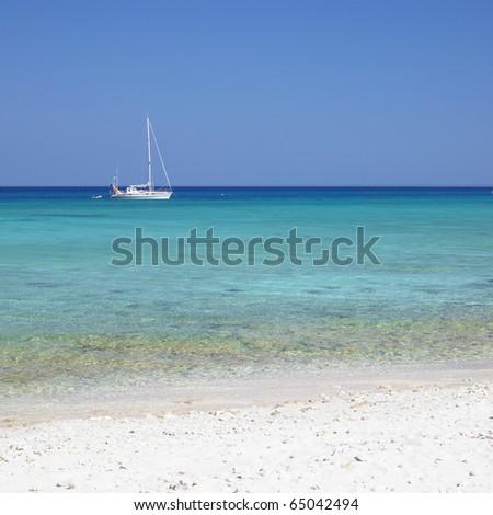yacht, Caribbean Sea, Maria la Gorda, Cuba - stock photo