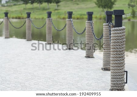 Yacht club port fence. - stock photo