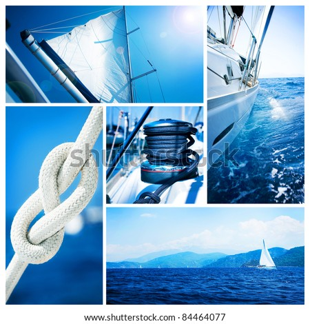 Yacht collage.Sailboat.Yachting concept - stock photo