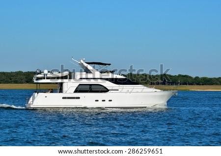 Yacht Cruising along the river Florida, USA. - stock photo