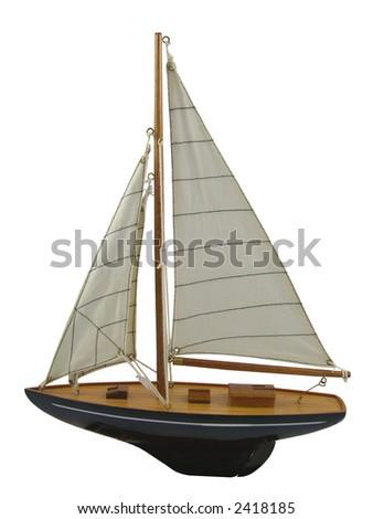 Yacht, decorative. Isolated white background. - stock photo