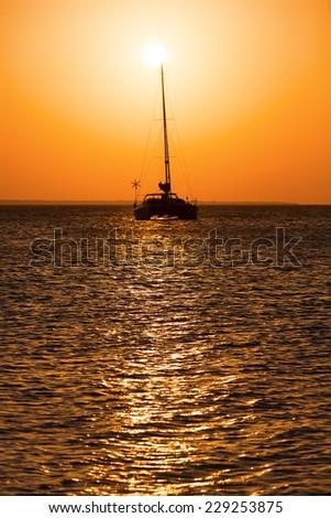 Yacht during sunset, Zanzibar, Tanzania - stock photo