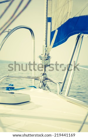 yacht fragment - stock photo