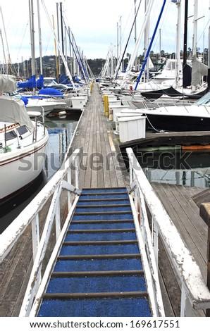 Yacht gangway, Sausalito, CA - stock photo