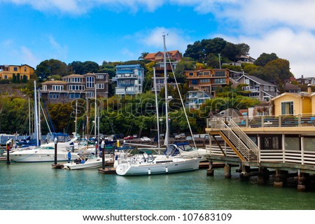 Yacht harbor and waterfront in Tiburon, CA.  View from the water of boats and hillside homes.  Tiburon is a wealthy suburb of San Francisco on the bay. - stock photo