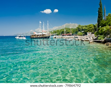 Yacht harbor in Croatia - stock photo