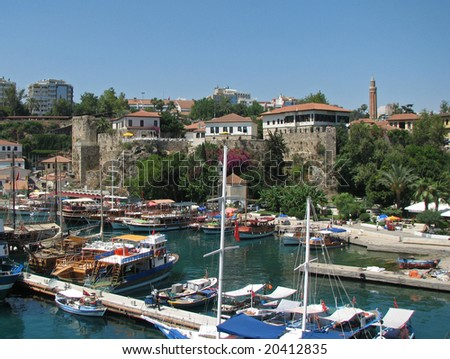 """Yacht harbour in """"Old town"""" Antalia Turkey - stock photo"""