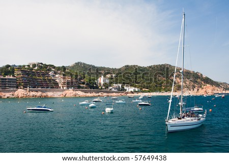 Yacht in harbor. Spanish coastline - Costa Brava Spanish coastline - Costa Brava