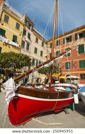 Yacht in resort town Vernazza, Cinque Terre, Liguria, Italy, Europe. - stock photo