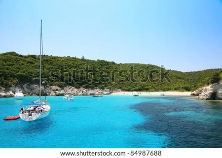 Yacht in the bay. Corfu. Greece. - stock photo