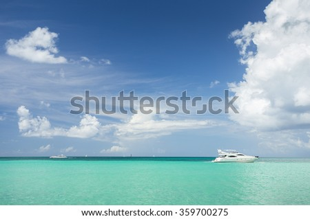 Yacht in the Caribbean Sea - stock photo