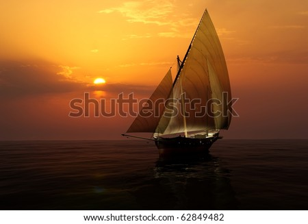Yacht in the high sea - stock photo